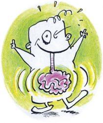 Herr Reizend - Maskottchen der Initiative Gesunder Darm - ist fröhlich